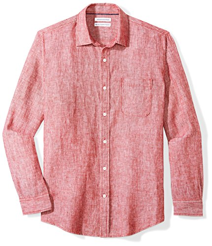Amazon Essentials Men's Regular-Fit Long-Sleeve Linen Shirt, red, Small