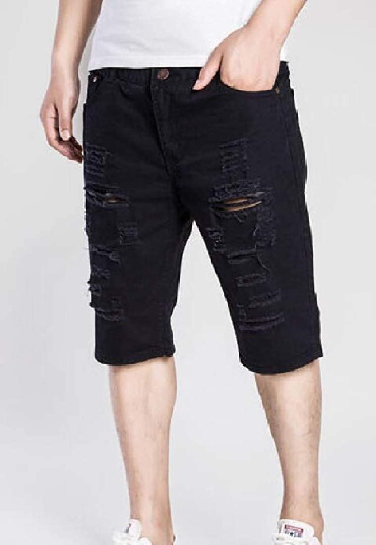 Spirio Mens Biker Moto Straight Basic Destroyed Ripped Hole Stretch Denim Shorts