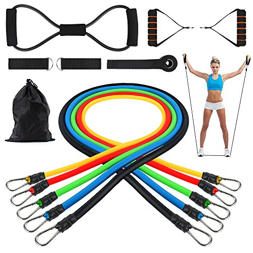 Resistance Bands Set, SiFREE 5 Packs Resistance Tubes Bands Include 1 Free 8-Shape Resistance Cord, Door Anchor, Foam Handles, Ankle Straps, Waterproof Carrying Bag