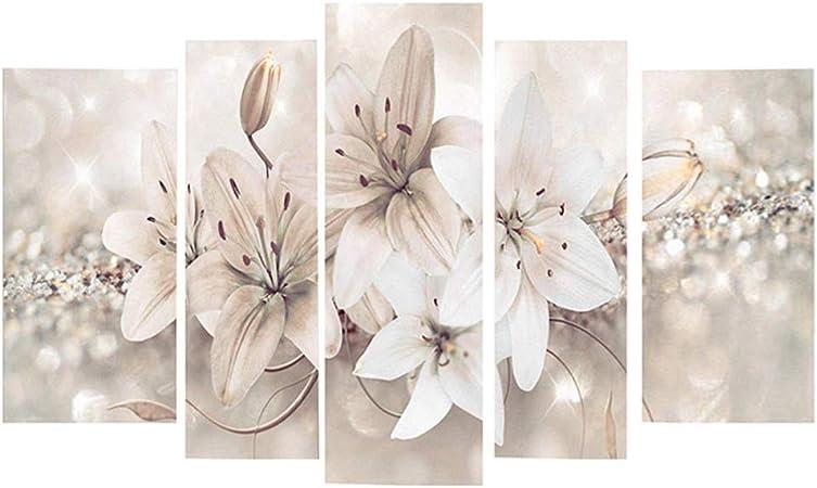 Conjunto de cuadros decorativos para pared en lienzo impreso, diseño de flores moderno y abstracto, para sala de estar, oficina o dormitorio, No nulo, como se muestra en la imagen, Tamaño libre: