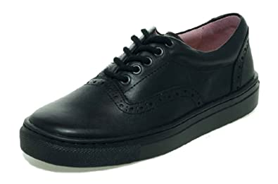 Petasil Payle Girls Black Lace Up School Shoe F Fit Free Post
