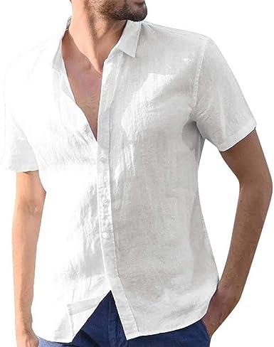 VJGOAL Hombres de Manga Corta Solapa Breve Camisas de Color sólido Verano Casual Suelta de algodón de Lino Botón Vintage Camisetas Tops Blusa: Amazon.es: Ropa y accesorios