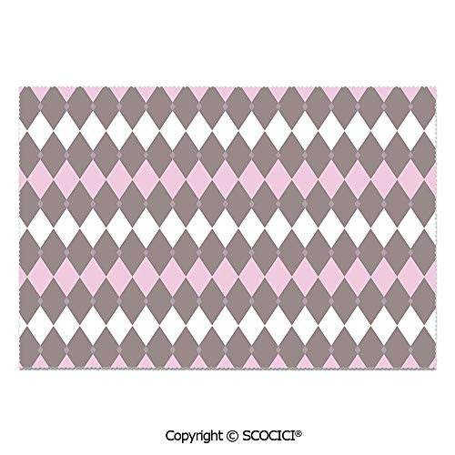 - SCOCICI Set of 6 Heat Resistant Non-Slip Table Mats Placemats Diamond Pattern Various Sized Shapes Vertical and Retro Illustration Decorative for Dining Kitchen Table Decor