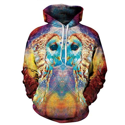 [Timeiya Men's Cotton Blend Hooded Sweatshirt Pullover Parrot Pattern] (Male Figure Skater Costume)
