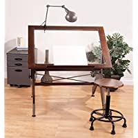 Studio Designs 13311 Aries Glass Top Drafting Table, Dark Walnut with Champagne Metal
