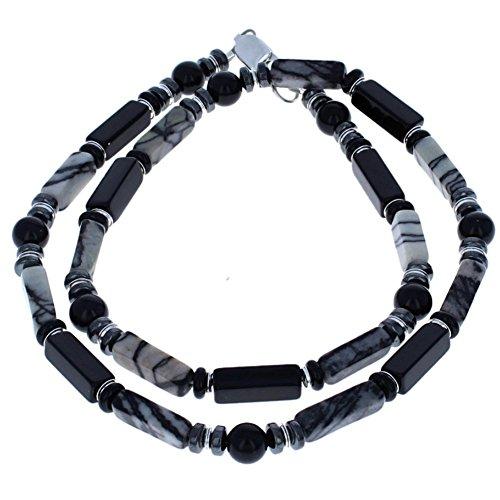 Matrix Jasper, Black Onyx, Hematite (Hemalyke) & Sterling Silver Beaded Necklace - ()