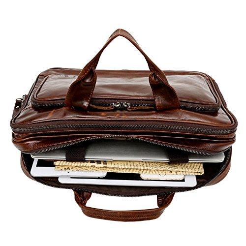 "Bolso De Piel elegante para Business Oficina - Maletín para Hombre - Carteras Libros Portátil 14"" - Vintage Retro Marrón"