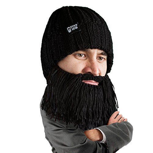 Beard Head Barbarian Vagabond Beanie - Funny Knit Hat and Fake Beard Facemask Black]()
