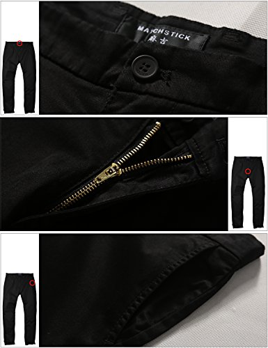 Match Men's Slim Fit Tapered Stretchy Casual Pants (32W x 31L, 8050 Black)