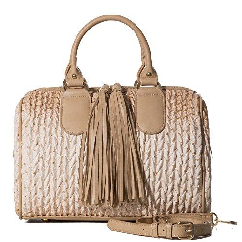 Handbag Republic Womens Vegan PU Leather Top Handle Handbag Tube Satchel Style Two Tassel Zipper Closure (Beige)