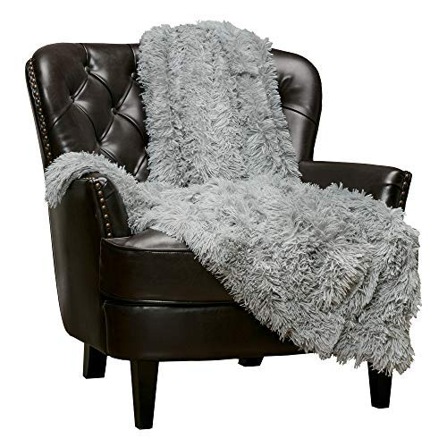 Chanasya Shaggy Longfur Faux Fur Throw Blanket - Fuzzy Lightweight Plush Sherpa Fleece Microfiber Blanket - for Couch Bed Chair Photo Props (50x65 Inches) Grey