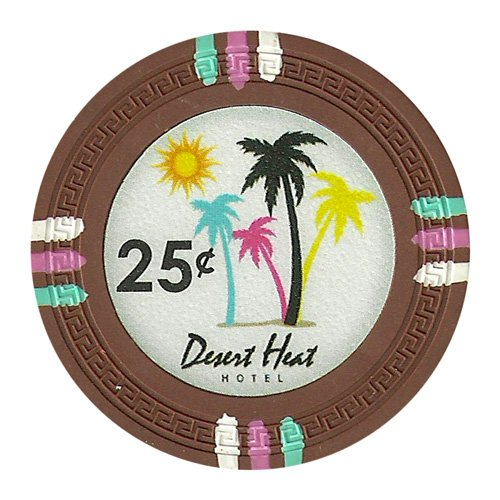 Claysmith Gaming 25 Cent Clay Composite 13.5 gram Desert Heat Poker Chips - Sleeve of 25
