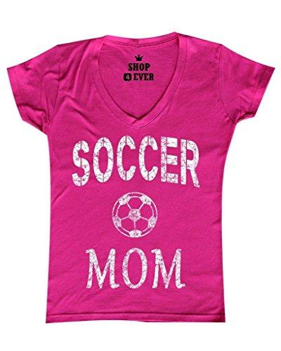 Shop4Ever Soccer Mom Women's V-Neck T-shirt Sports Shirts X-Large Pink 0