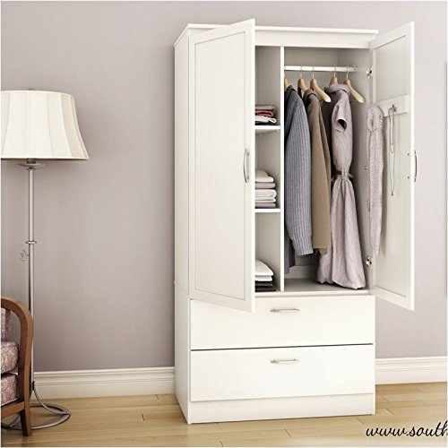 Pemberly Row Wardrobe Armoire in Pure White by Pemberly Row