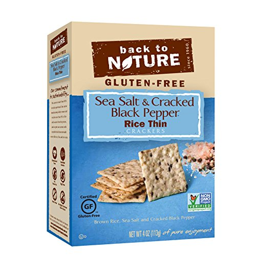 Back To Nature Crackers Gluten Free, Non GMO, Sea Salt & Cracked Black Pepper Rice Thin Crackers, 4 ounce