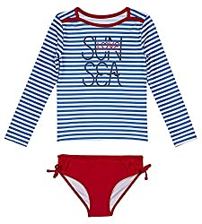 Nautica Big Girls' Fashion Rashguard Swim Suit Set With Upf 50+ Sun Protection, Royal Seasstripes, Medium (810)