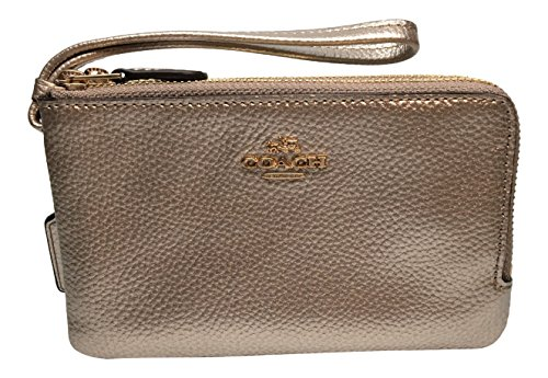 Coach Metallic Pebbled Leather Double Corner Zip Wristlet Wallet F23260 ()