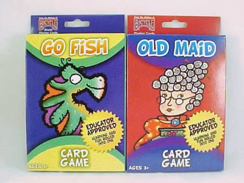 Bicycle 2 Pack Kids Card Games Go Fish and Old Maid Children Oversize Decks (Fish For Kids)