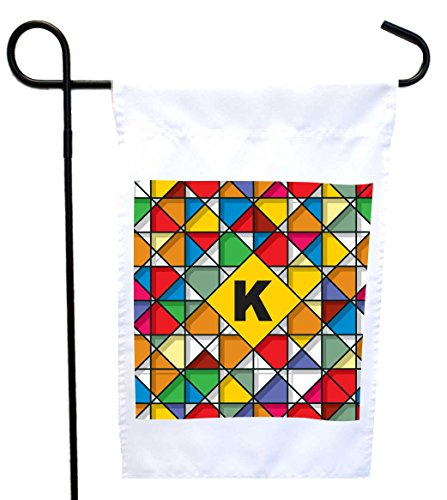 Rikki Knight Letter K Monogram Vibrant Colors Stained Glass Design Design Garden Flag 12 x 18 flag size with 11 x 11 inch image with Sturdy black wrought iron flag pole (Proudly Printed in the USA) (Garden Stained Design)