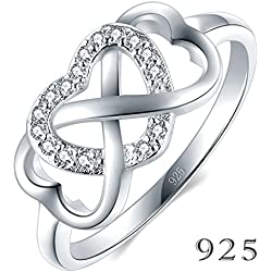 925 Sterling Silver Ring High Polish Cubic Zirconia Infinity and Heart Valentine's Day gift