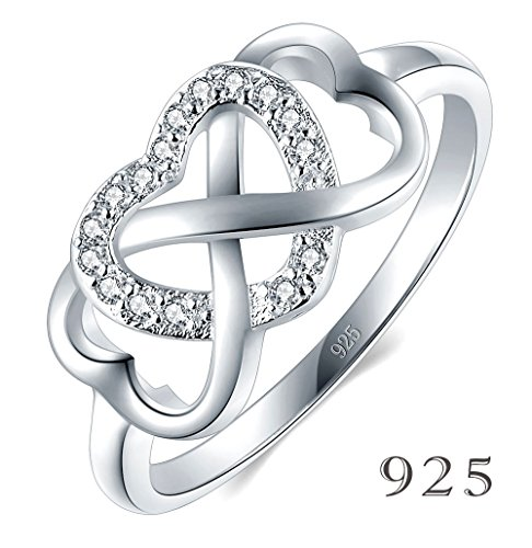 925 Sterling Silver Ring High Polish Cubic Zirconia Infinity and (Solid Gold Heart Ring)