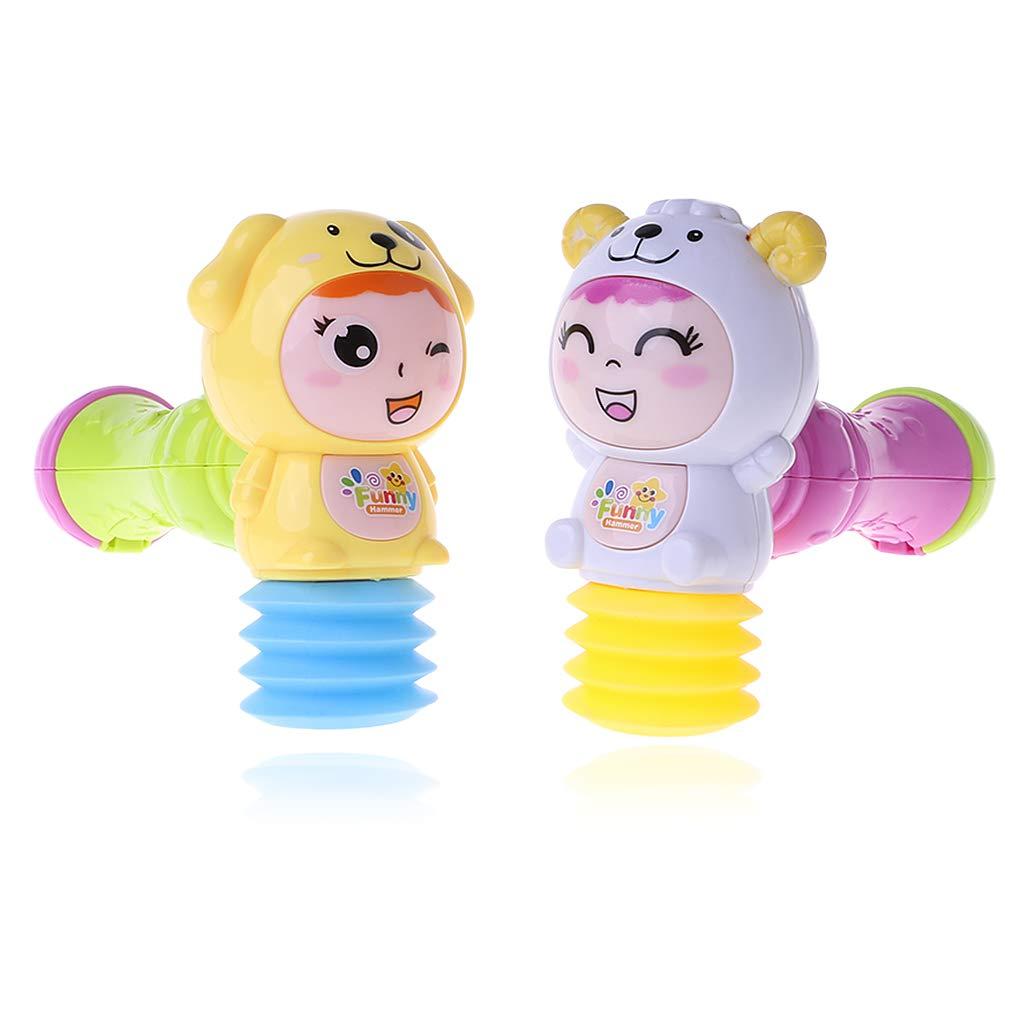 YDZN 赤ちゃん LED ライト サウンド 音楽 砂 ハンマー おもちゃ 幼児 ガラガラ 音楽玩具 ランダムカラー 1個   B07GDX7H4W