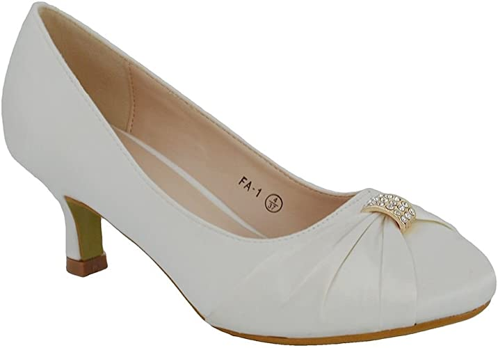 """Ladies White Satin 3.5/"""" Heel Bridal Wedding Shoes from Anne Michelle F9698"""