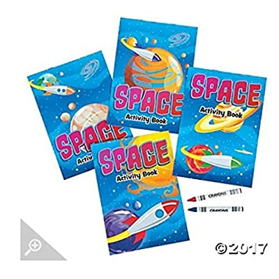 SPACE ACTIVITY BOOKS W/CRAYONS - Stationery - 12 Pieces: Toys & Games