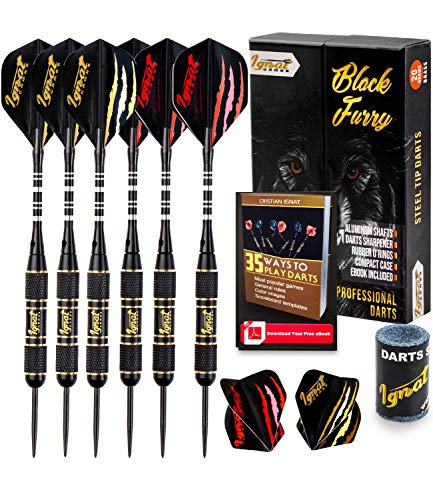 IgnatGames Steel Tip Darts - 20g Professional Darts Set with Aluminum Shafts and Flights + Dart Sharpener + Innovative Case (20g Black Furry)