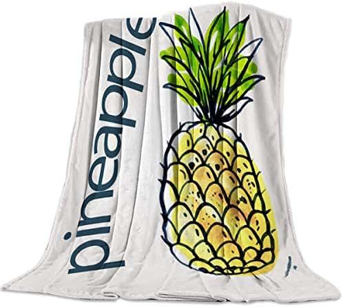 Ultra Soft Flannel Fleece Throw Blanket Cartoon Watercolor Pineapple Fruit Pattern 59x79inch All Season Light Weight Living Room/Bedroom Warm Blanket