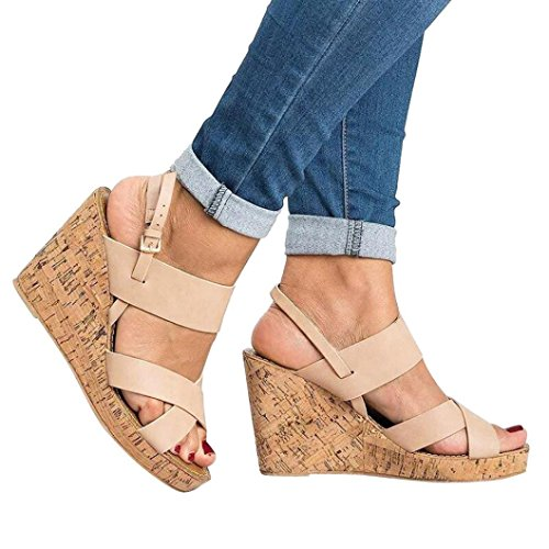 WuyiMC Clearance Women Platform Shoes - Fashion eep Toe Breathable Beach Sandals Boho Bukcle Strap Casual Wedges Shoes (Beige, 8.5) by WuyiMC Women shoes