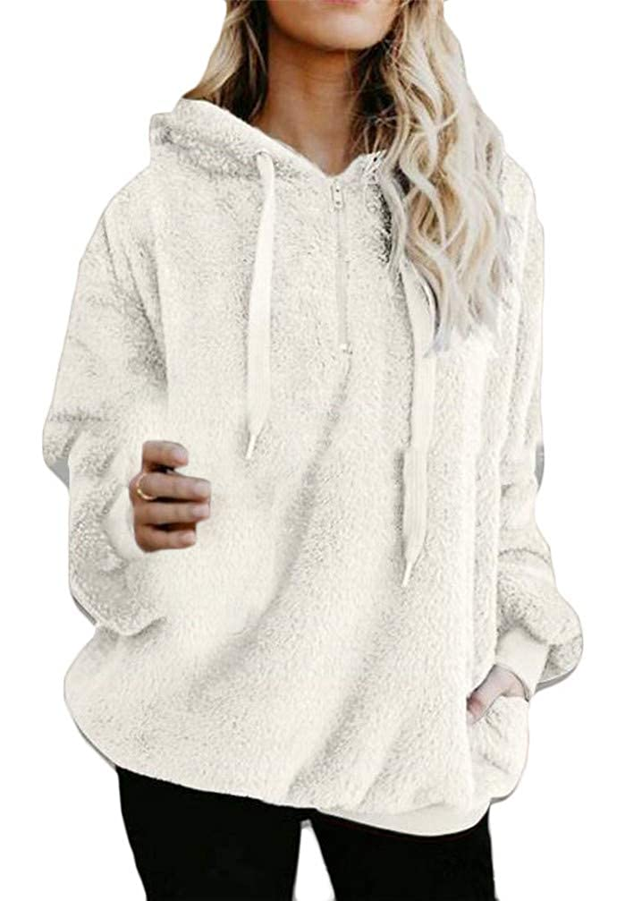 Cromoncent Womens Fleece Drawstring Vogue Zip Pocket Pullover Hooded Sweatshirts