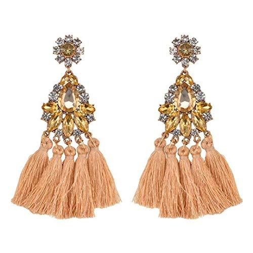 HUWBSJOE Wedding Dangle Drop Earrings for Women Crystal Big Statement Fringe Tassel Long Earings Fashion Jewelry - Bijoux Champagne