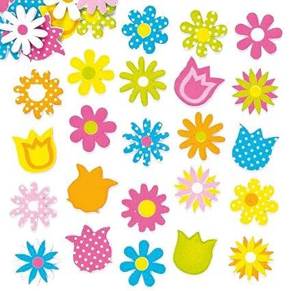 Amazon Com Baker Ross Spring Flower Foam Stickers For Kids To