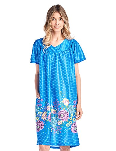 (Casual Nights Women's Short Sleeve Muumuu Lounger Dress - Blue - Small)