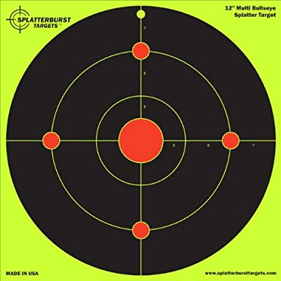 "10 Pack - 12"" Multi Bullseye Splatterburst Target - Instantly See Your Shots Burst Bright Florescent Yellow Upon Impact!"