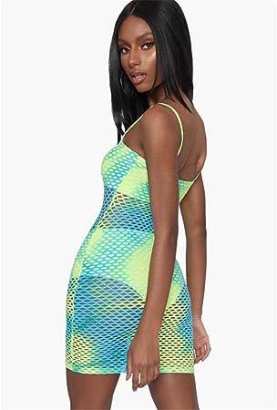 WDSFT Frauen-Strand-Kleid Sexy Printed Mesh-Riemen-Kleid Frühling 2020 neu (Color : Green, Size : XXL): Küche & Haushalt