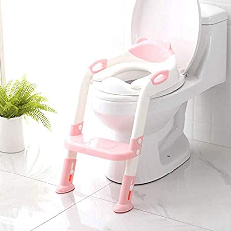 Asiento for ir al baño con escalera de taburete, inodoro for ir al baño for niños Niños Niñas - Asiento for baño seguro y cómodo con escalera antideslizante (Color : Pink): Amazon.es: