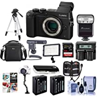 Panasonic Lumix DMC-GX8 Mirrorless Digital Camera Body Black - Bundle with Camera Bag, 64GB SDXC U3 Card, 2x Spare Battery, Tripod, Shotgun Mic, Video Light, Dual AC/DC Charger, Software Bundle, More