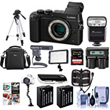 Panasonic Lumix DMC-GX8 Mirrorless Digital Camera Body Black - Bundle with Camera Bag, 64GB SDXC U3 Card, 2x Spare Battery, Tripod, Shotgun Mic, Video Light, Dual AC/DC Charger, Software Bundle, More