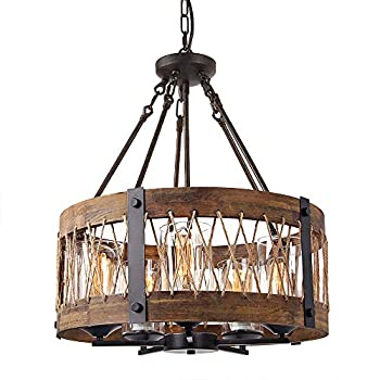 Image of Home and Kitchen Round Wooden Chandelier with Clear Glass Shade Rope and Metal Pendant Five Lights Decorative Lighting Fixture Retro Rustic Antique Ceiling Lamp