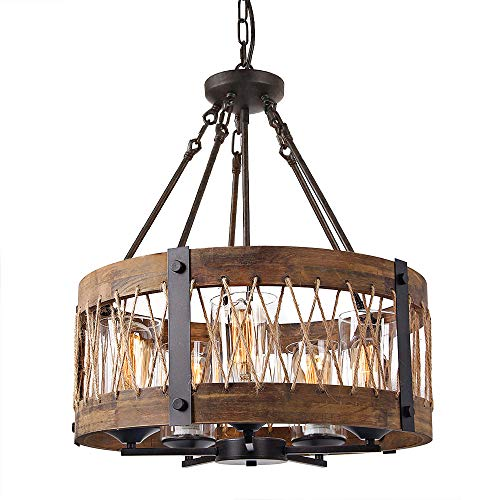 Anmytek Round Wooden Chandelier with Clear Glass Shade Rope and Metal Pendant Five Decorative Lighting Fixture Retro Rustic Antique Ceiling Lamp, C0003 Brown (Chandelier Nautical Rope)