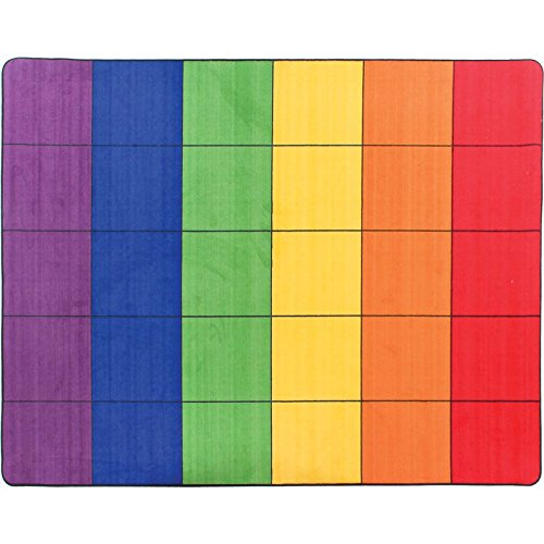 "Really Good Stuff 7' 6"" x 6' Plush Rectangular Group Colors Rug – 30 Squares, 6 Vibrant Colors – Rainbow Rug is Perfect for a Classroom or Playroom, Includes a Life Wear Guarantee"