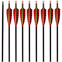MS Jumpper Hunting Carbon Arrows 340 Spine with Real Feathers and Field Points for Archery Shooting (Pack of 6)