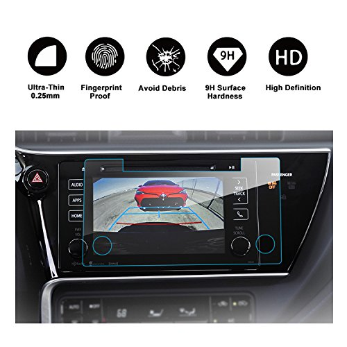 RUIYA 2017 Toyota Corolla In-Dash Screen Protector, HD Clear Tempered Glass Car Navigation Screen Protective Film by RUIYA