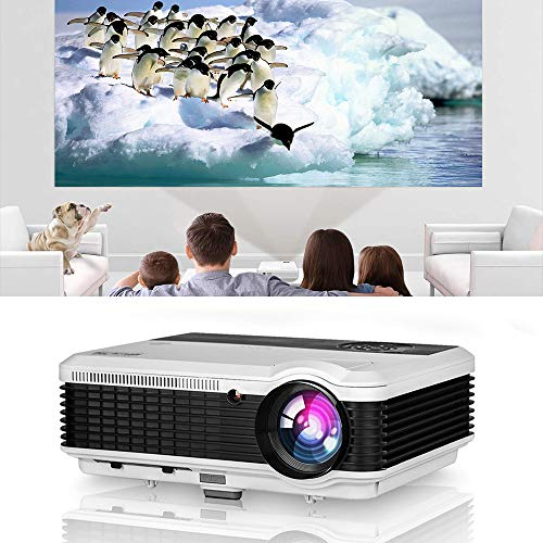 HD LED Projector with HDMI USB Inputs Speakers, 4600 Lumens WXGA LCD 1280x800 Native Video Projector Support 1080P Home Cinema Outdoor Movie Gaming RCA VGA AV for iPad DVDs Phone Laptop Computer TV