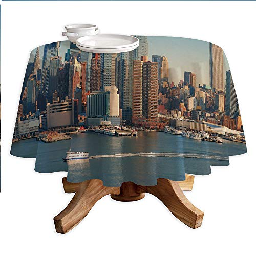 (Urban Round Polyester Tablecloth,New York City Skyline Over Hudson River Empire State Building Boats and Skyscrapers,Dining Room Kitchen Round Table Cover,60