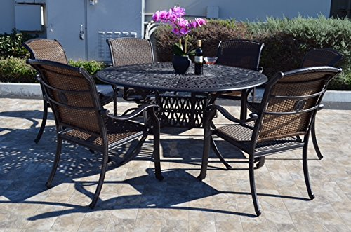 Santa Clara Outdoor Patio 7 pcs Round Dining Set Dark Bronze Cast Aluminum (Set with 6 Swivel Rocker -