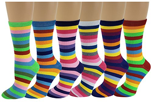 Differenttouch 6 Pairs Women's Fancy Novelty Crew Socks (Rainbow Stripes),Size 9-11