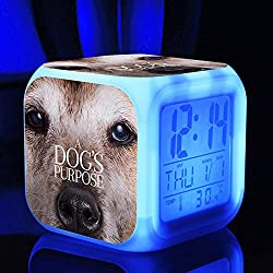 Hot TV Movie A Dog's Purpose Figures Felicie Victor Desktop Alarm Clock with 7 Changing Colors Cute Cartoon LED Clock (Style 6)